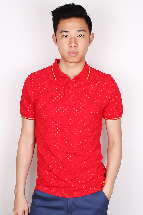 Mini Polka Dot Polo T-Shirt RED (Men's Polo)