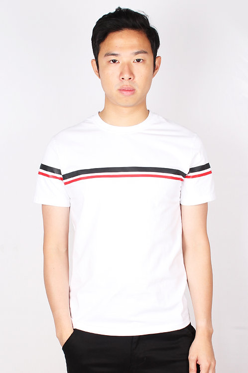 Twin Stripe T-Shirt WHITE (Men's T-Shirt)