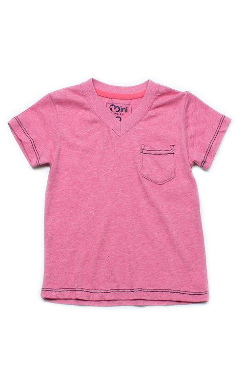 Contrast thread V-neck T-Shirt RED (Boy's T-Shirt)