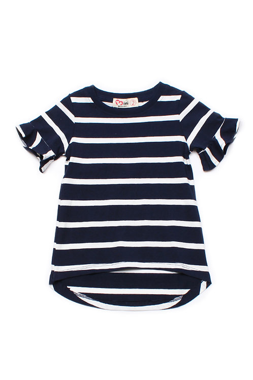 Striped Ruffle Cuffs T-Shirt NAVY (Girl's Top)