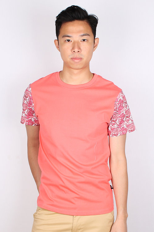 Japanese Wave Print T-Shirt PINK (Men's T-Shirt)