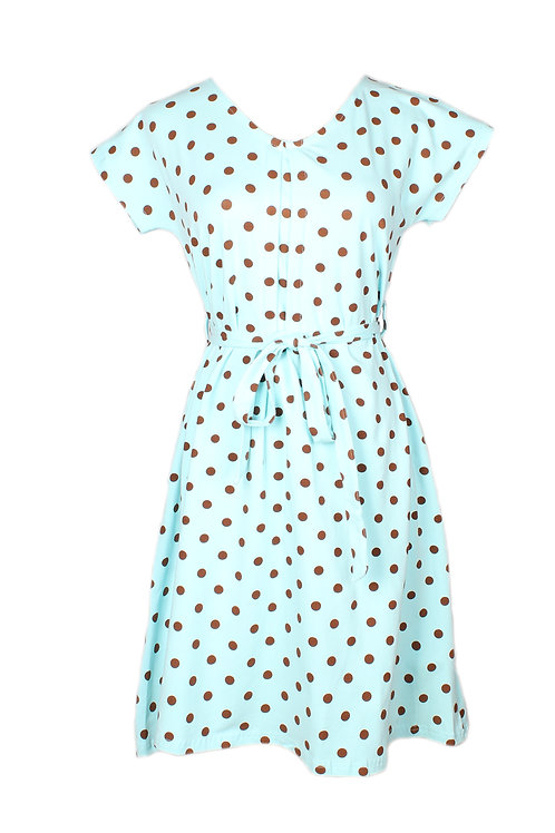 Polka Dot Print Flare Dress BABYBLUE (Ladies' Dress)