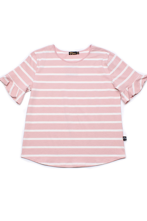 Striped Ruffle Cuffs Blouse PINK (Ladies' Top)