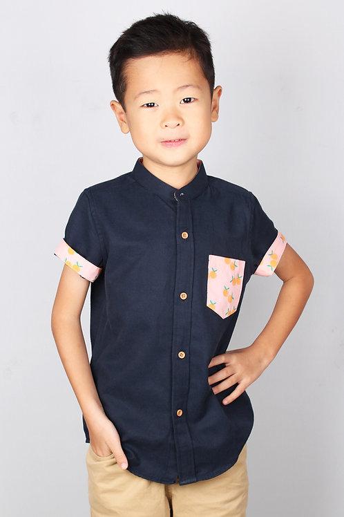 Mandarin Orange Print Mandarin Collar Short Sleeve Shirt NAVY (Boy's Shirt)