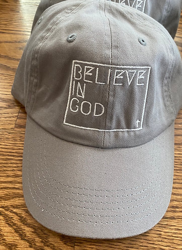 Believe In God Hat - Grey w/White