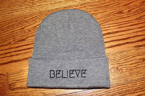 Believe Beanie: Dark Heather Grey