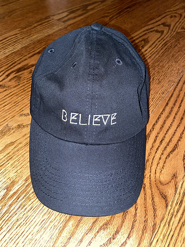 Believe Hat - Black w/White