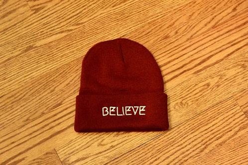Believe Beanie : Maroon