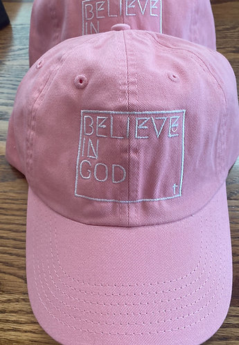 Believe In God Hat - Pink w/White