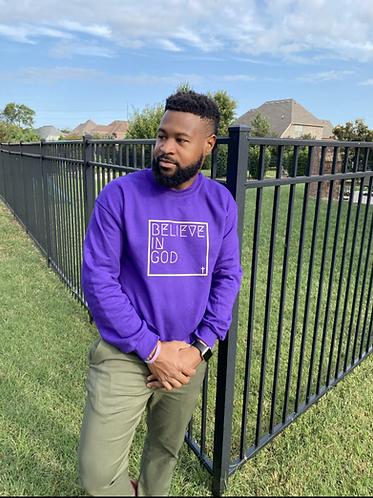 Believe In God Sweatshirt - Purple w/Gold