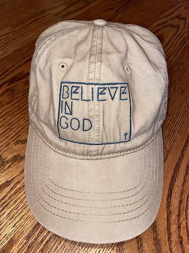 Believe in God Hat - Tan w/turquoise