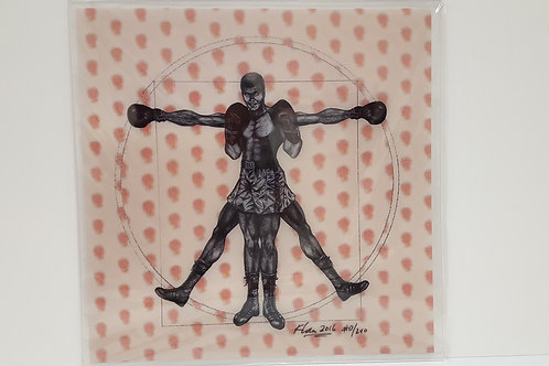 """Vitruvian Boxer 24""""x24"""" with red boxer gloves"""