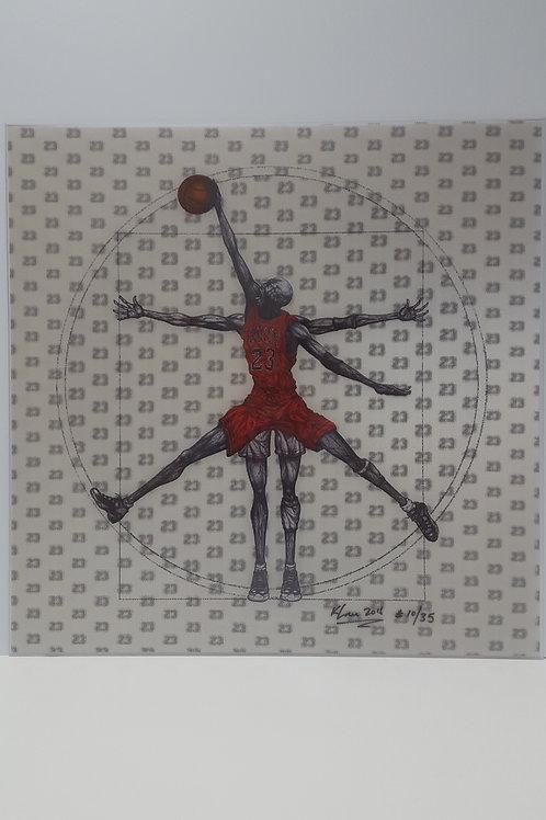 "Vitruvian Basketball 24""x24""(Red) Ltd. Ed."