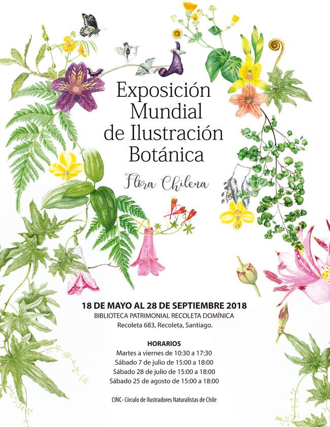 Horarios para visitar la Exposición Mundial de Ilustración botánica, flora Chilena.