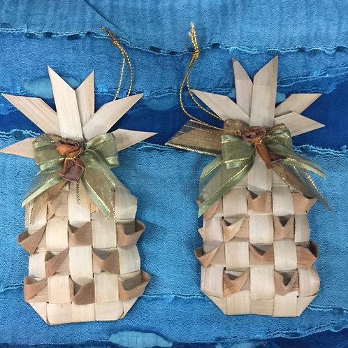 2 Lauhala Pineapple Ornaments