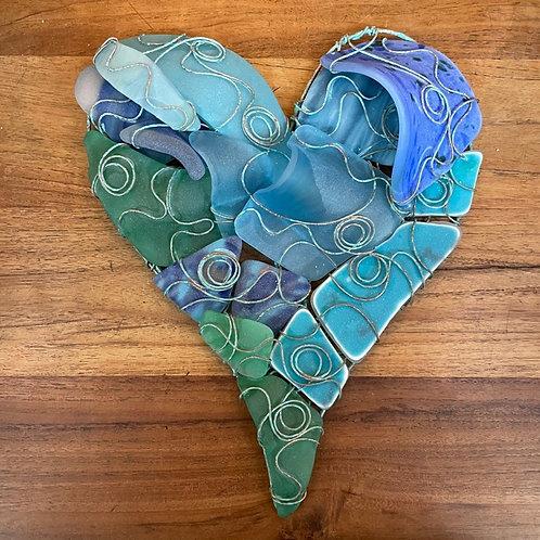 Aqua Blue Glass Heart - K. Ennis