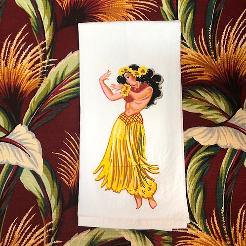 Cotton Hula Girl  kitchen towel