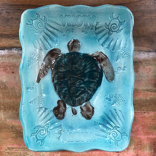 Hand made ceramic soap dish with Honu