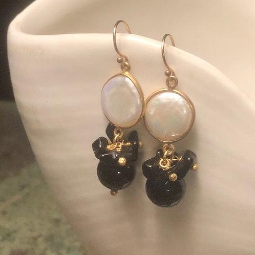 Pearl and Black Onyx Earrings