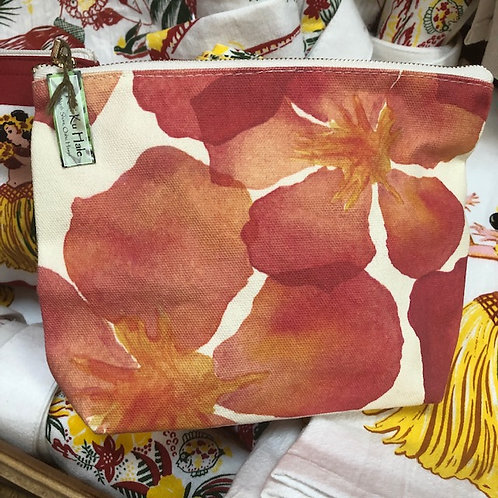 Red Hibiscus make up bag