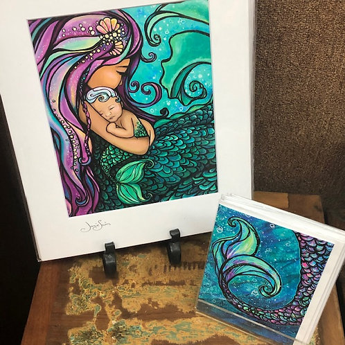 Mermaid and Baby Art Print