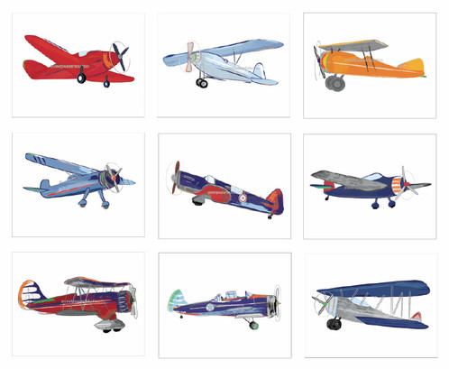 Vintage Airplane Art Print Set of 9 Multi colored | Baby ...