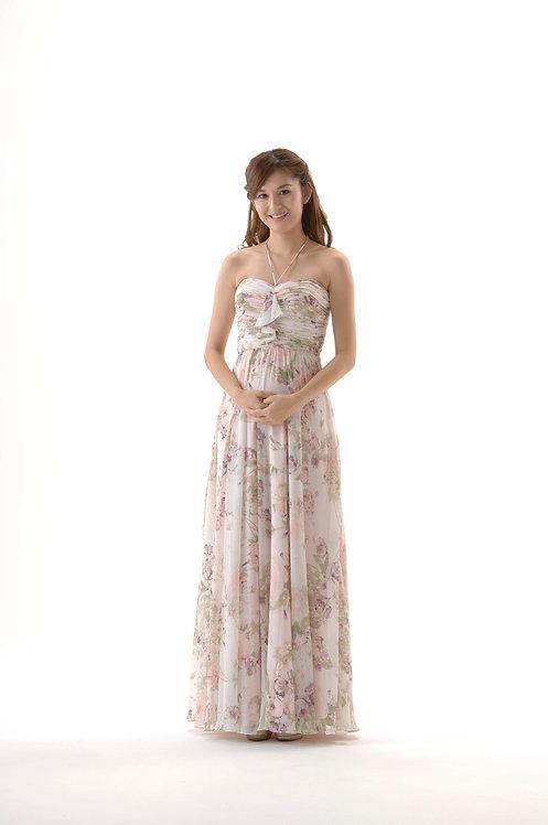 【即納】ホルターネックドレス  ピンクガーデン