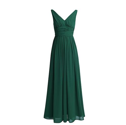 S101 Vネックロングドレス グリーン