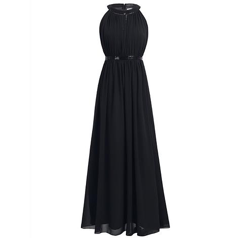 S100 ホルダーネックロングドレス ブラック