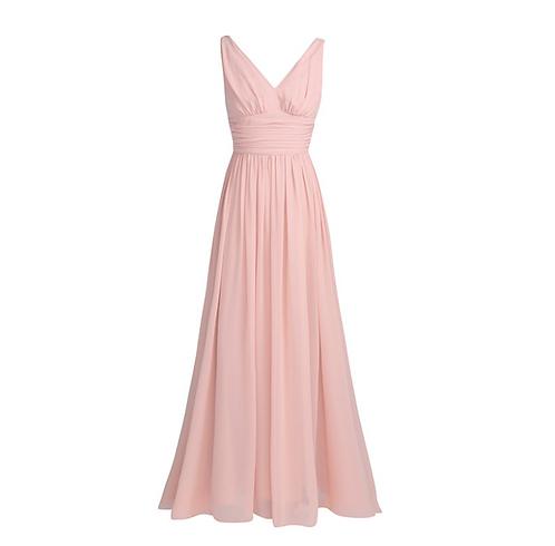 S101 Vネックロングドレス 薄ピンク