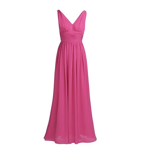 S101 Vネックロングドレス 濃いピンク