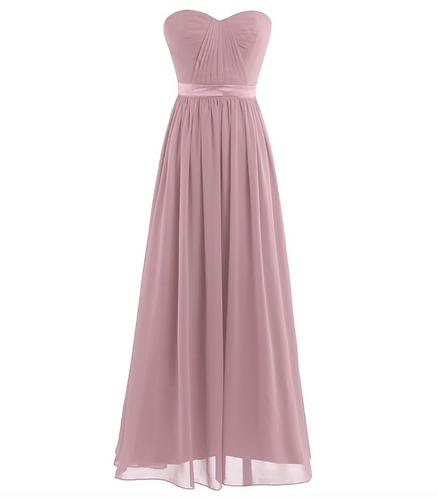S103 ベアトップドレス くすみピンク
