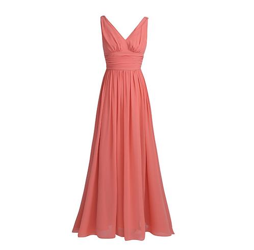 S101 Vネックロングドレス オレンジ