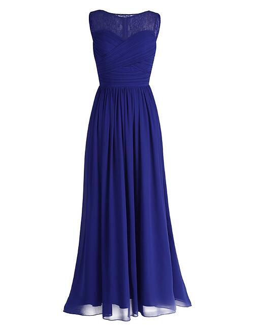 S102 レーストップロングドレス ブルー