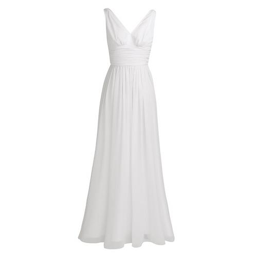 S101 Vネックロングドレス ホワイト