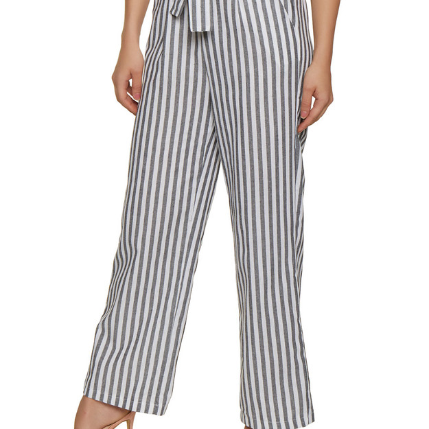 Rainbow Striped Tie Front Wide Leg Pants
