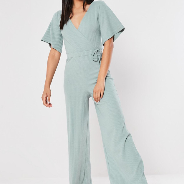 Missguided mint ribbed wrap kimono sleeve jumpsuit