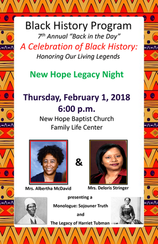 Black History Prg. - Feb. 1st @ 6 p.m.