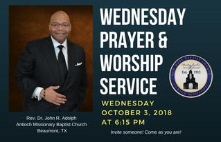 1st Wed. Prayer & Worship Service (10/3)