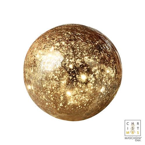 Boule de verre craquelée dorée avec 20 lumières à piles - Diam. 15cm