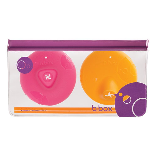 Couvercles en silicone bec souple ou paille – Strawberry et orange - B-box