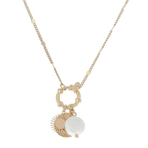 Collier avec perle d'eau douce, soleil et rond martelé- Ikita