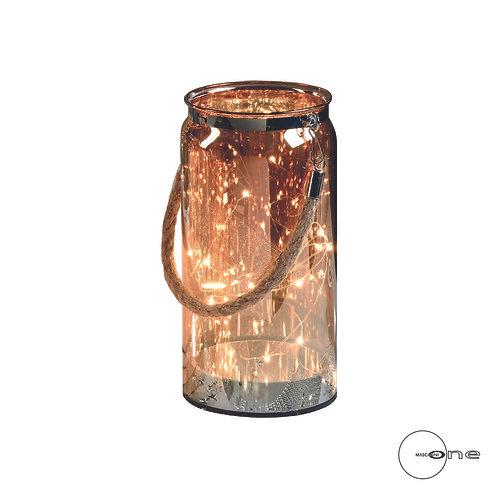 Lanterne en verre avec 10 lumières LED à piles - Petit