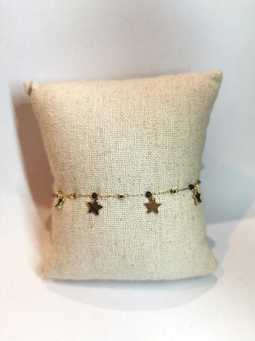 bracelets petites étoiles  noires dorées