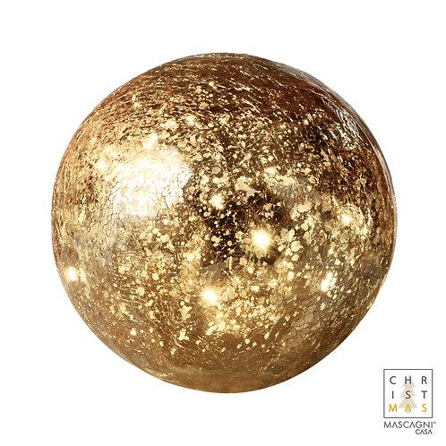 Boule de verre craquelée dorée avec 40 lumières à piles - Diam. 20