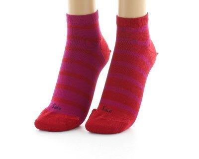 Socquettes en soie rayées asymétriques Rouge et Rose- Berthe aux grands pieds