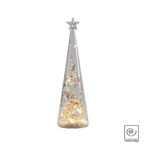 Sapin de verre avec lumières LED à piles Diam. 7x25,5