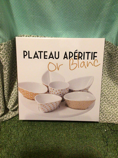 Plateau apéritif tournant Or Blanc 32cm