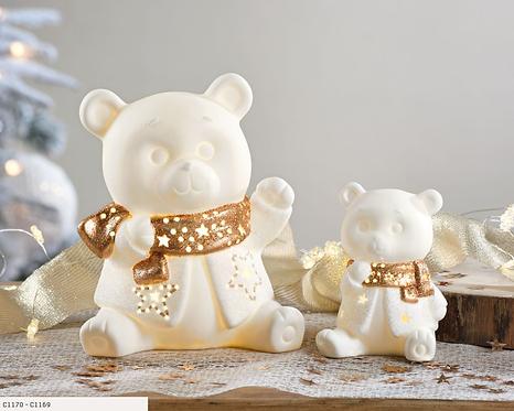 Ours en peluche en porcelaine avec éclairage led à piles -Petit