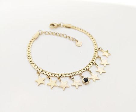 Bracelet étoiles et strass noire - IKITA